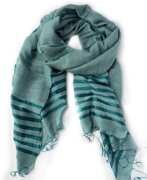 Vietnamese Teal Striped Silk Scarf, Fair Trade