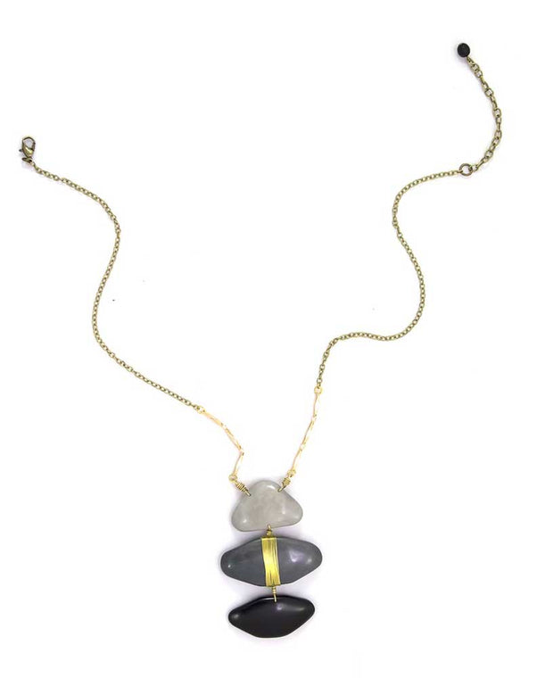 Shades of Grey Brass and Tagua Desigual Necklace, Ecuador