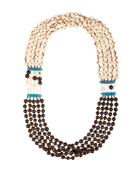 Black and Ivory Acai Seed Necklace, Ecuador