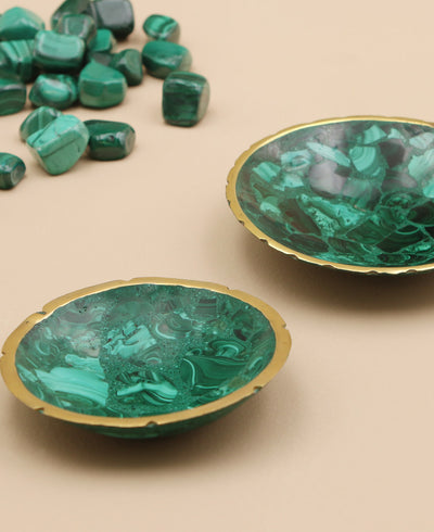 Green Malachite Gemstone Charm Dish