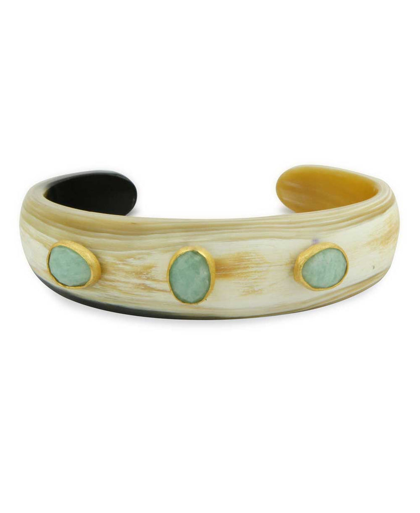 Horn Cuff Bracelet with Gemstone and Gold Inlay, India