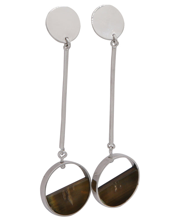 Moon Over The Horizon White Gold Drop Earrings, Cambodia