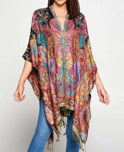Floral Embroidered Rayon Wrap