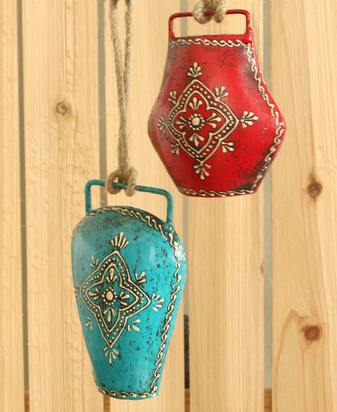 Hand Painted Floral Henna Bell, Multiple Colors