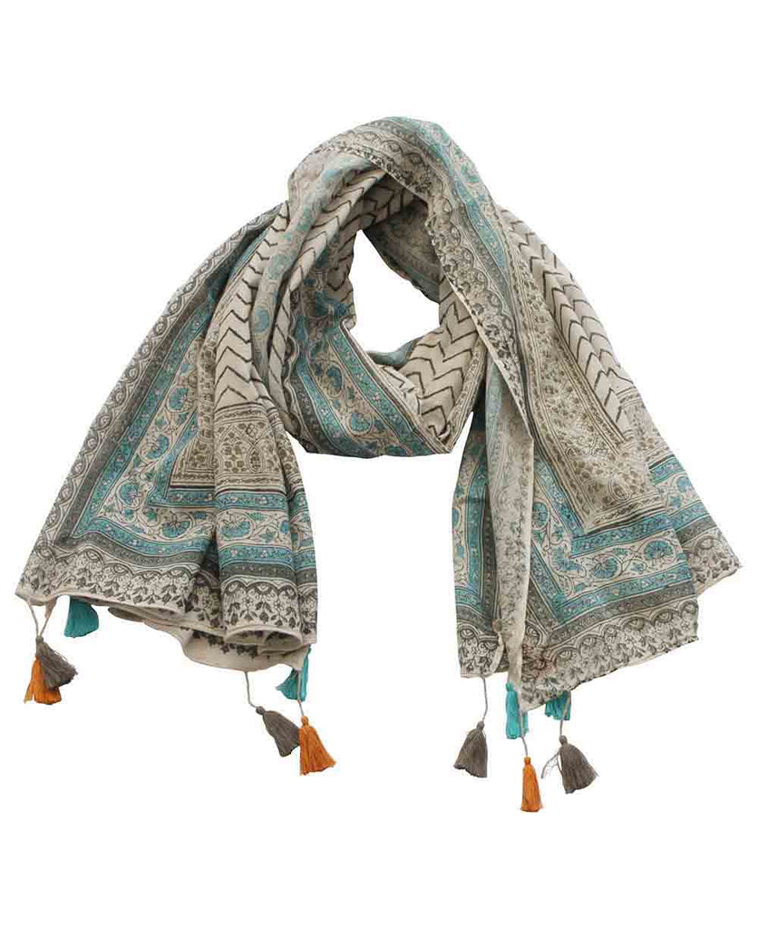 Floral and Chevron Cotton Blanket Scarf, India