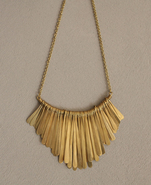 Brass Feather Fringe Necklace, Kenya