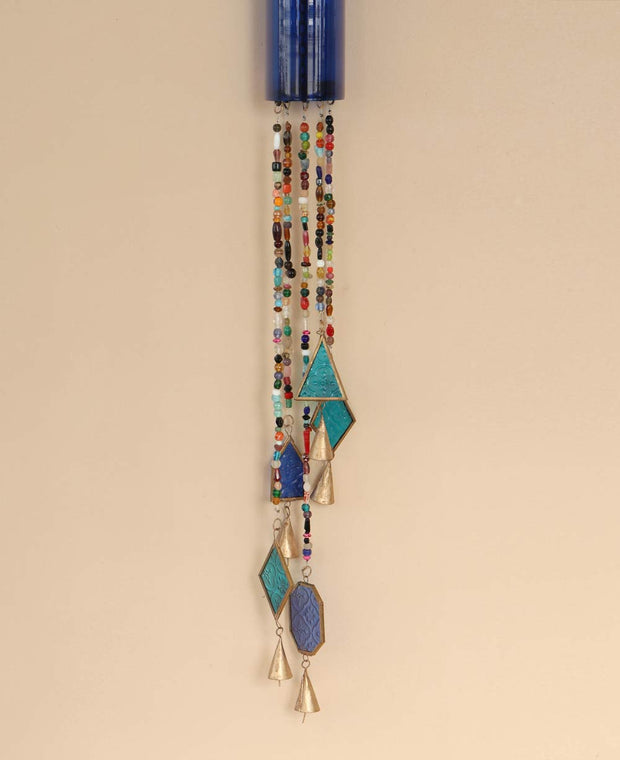 Artistic Glass Bottle and Beads Wind Chime Hanging