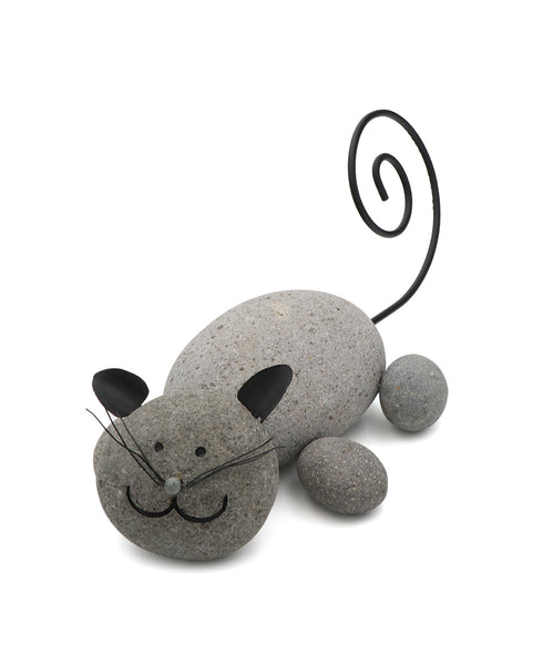 Happy Lounging Cat Statue