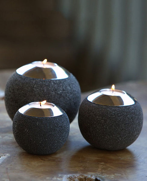 Stone Orb Garden Tealight Holders, Set of 3