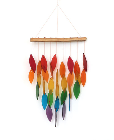 Rainbow Glass and Driftwood Waterfall Chime