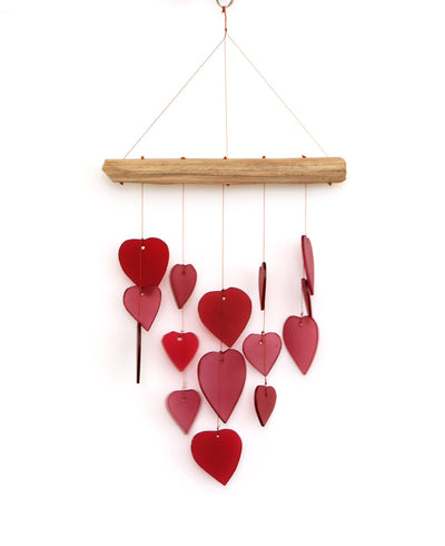 Glass Hearts Wind Chime