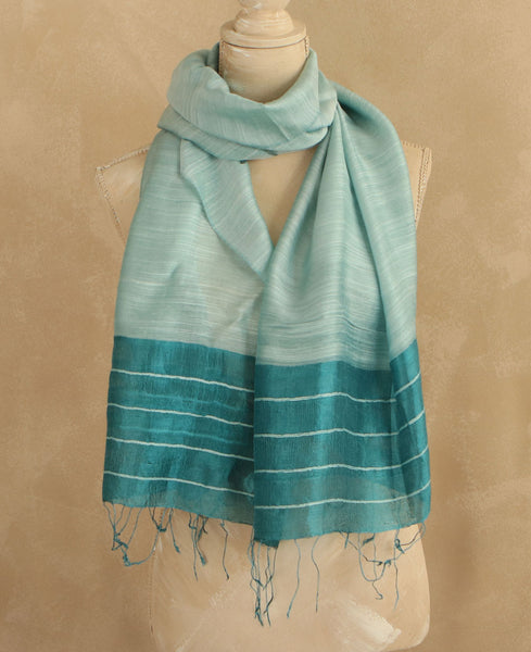 Fair Trade Teal Ripple Scarf, Vietnam