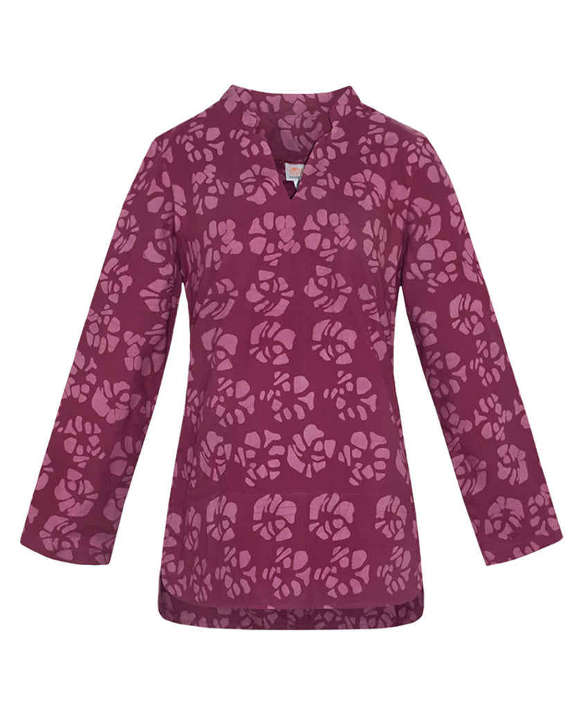 Organic Cotton Fair Trade Wine Floral Print Tunic