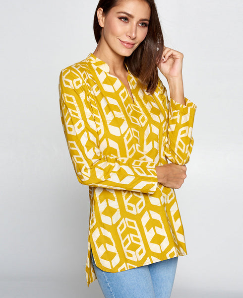 Organic Cotton Mustard Tribal Print Tunic, Fair Trade