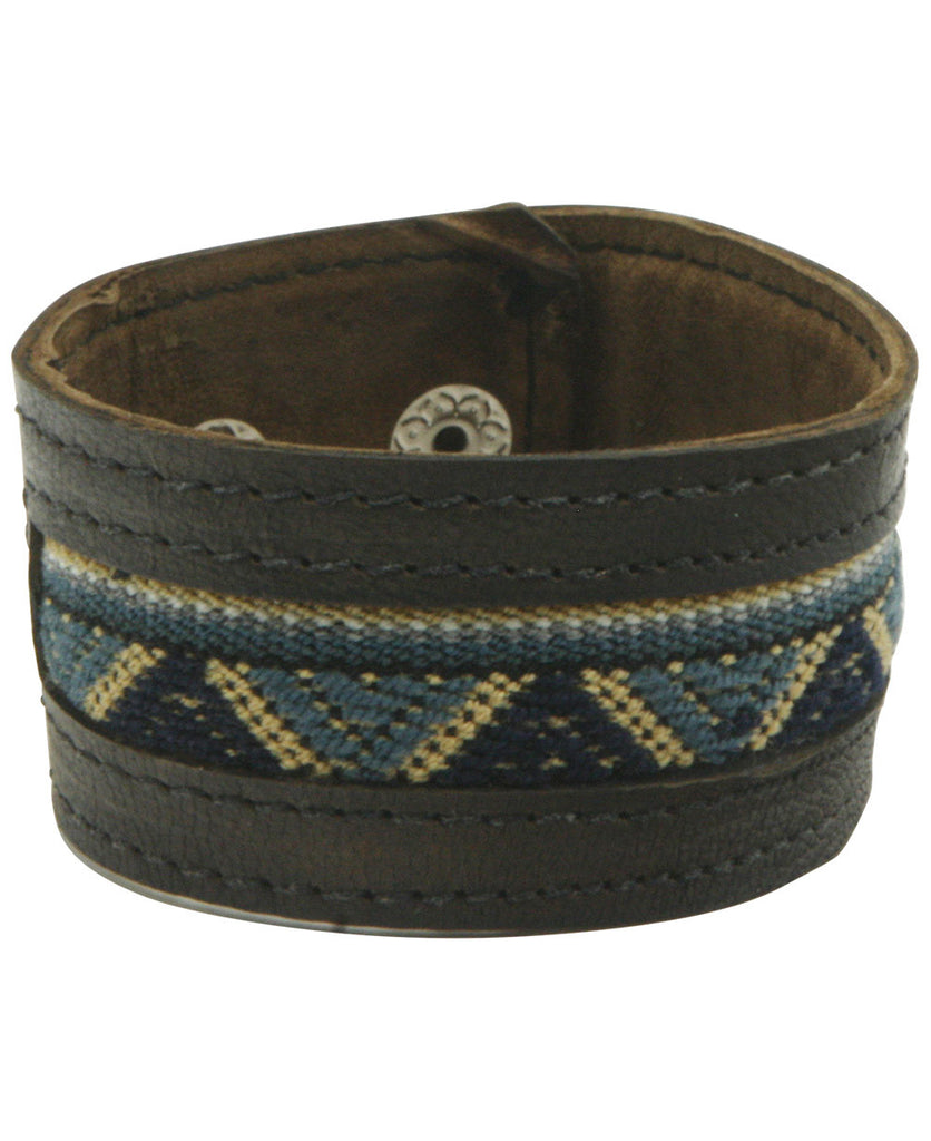 Men's Leather Cuff Bracelet with Bolivian Textile
