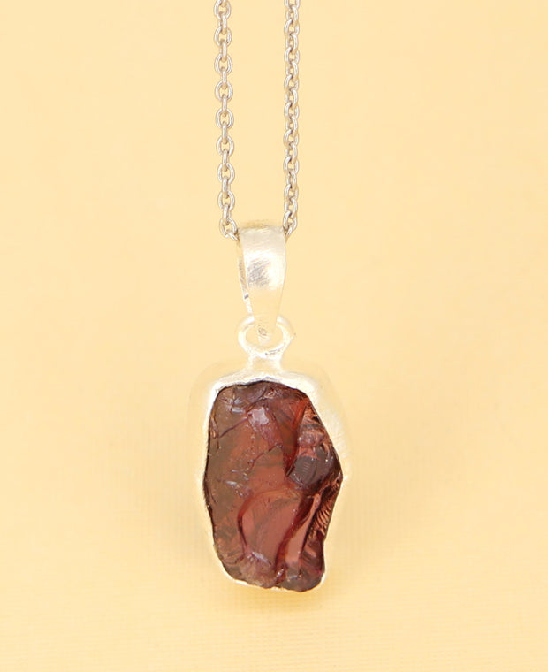 Raw Cut Garnet Necklace