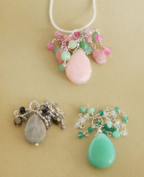 Beaded Gemstone Drizzle Pendants, USA