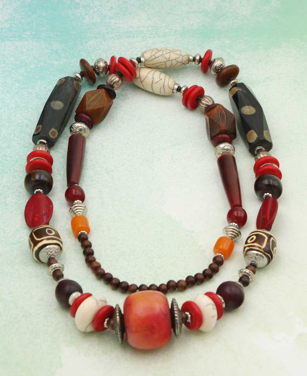 Tibetan Sunset Geometric Bead Tribal Necklace