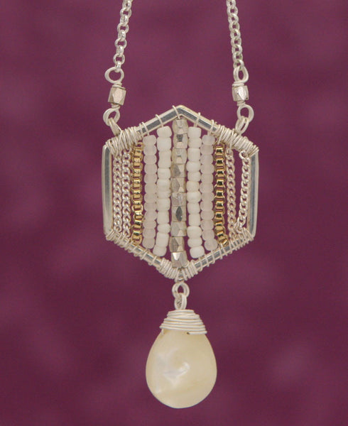Mother of Pearl Geometric Drop Necklace