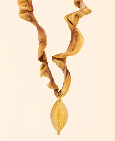Golden Maple Glass Pendant Necklace on Silk Cord