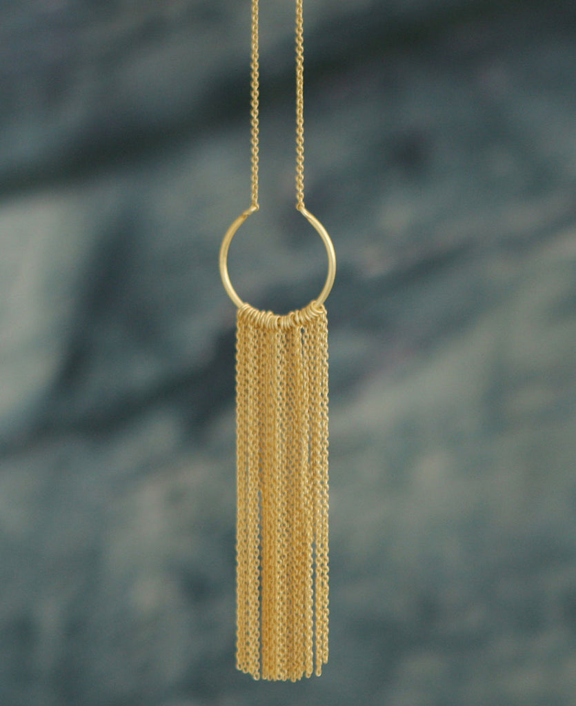 Golden Fringe Circular Pendant Necklace, Fair Trade