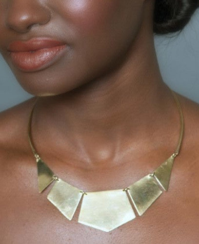 Kenyan Shapes Geometric Brass Necklace, Fair Trade