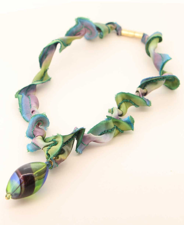 Abalone Colored Glass Pendant Necklace on Silk Cord