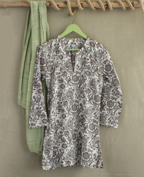 Floral Grey Tunic Top