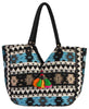 Blue and Black Gaur Weave Shoulder Bag, India