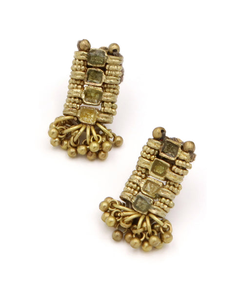 Golden Shimmy Earrings in Green