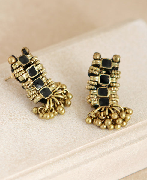 Golden Shimmy Earrings in Black