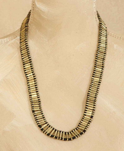 Woven Sona Statement Necklace in Black
