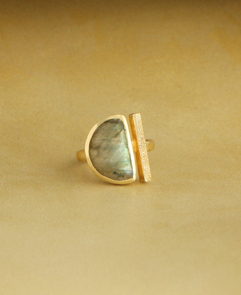 Half Moon Labradorite Ring with 18K Gold, India