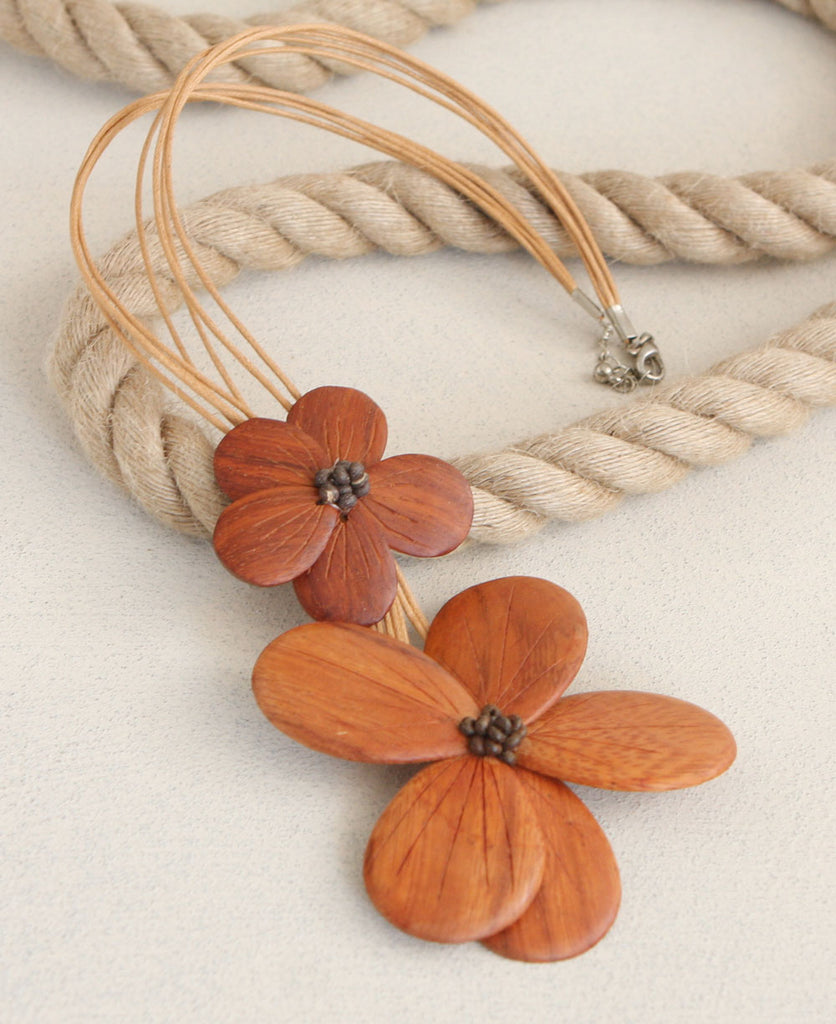Bayong Wood Hibiscus Flower Necklace, Philippines