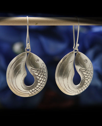 Hill Tribe Silver Fish Earrings