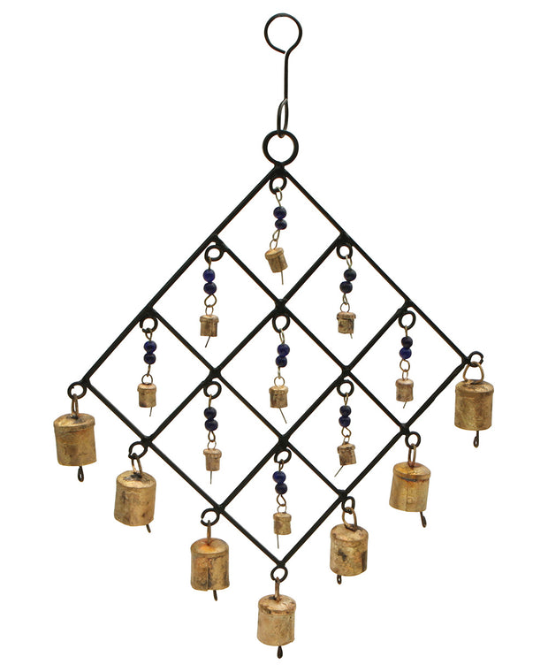 Diamond Lattice Wind Chime with Indian Camel Bells