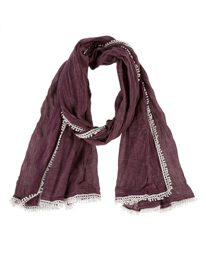 Stonewash Cotton Scarf with Lace, India