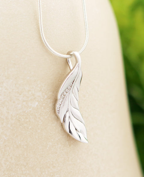 Sparkling Feather Pendant, Sterling Silver