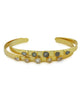 5 Gem Brass and Gold Cuff Bracelet, India