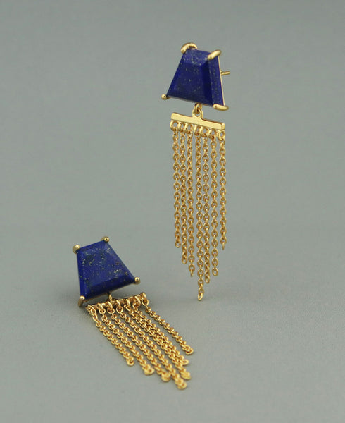 Gold Plated Sterling Silver and Lapis Chandelier Earrings