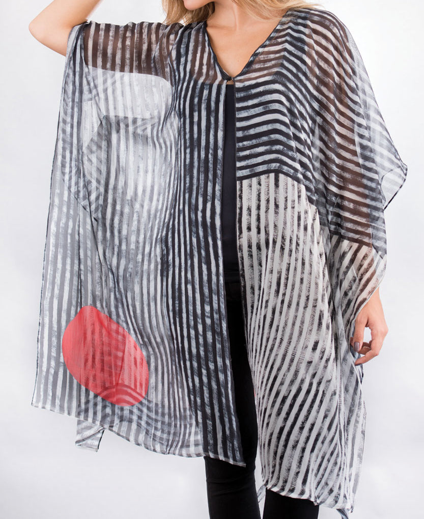 Red Sun Striped Black and White Kaftan