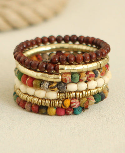 Beaded Coiled Bracelet