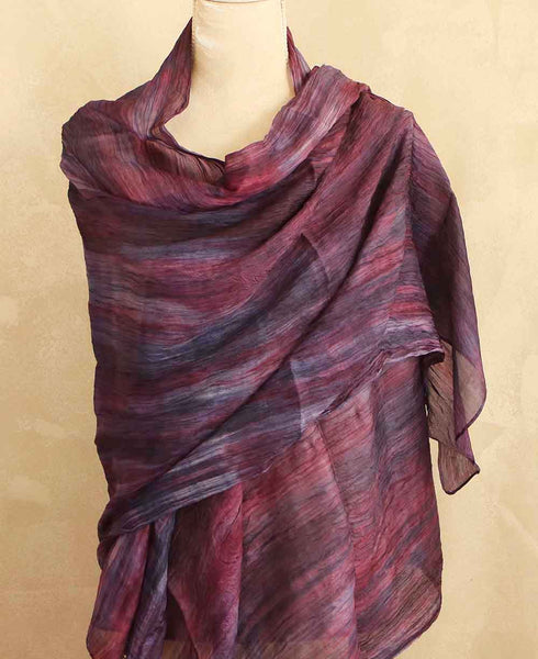 Watercolor Design Silk Scarf in Purple and Plum Tones, Vietnam
