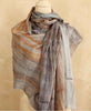 Grey Watercolor Design Silk Scarf with Rust Washes, Vietnam