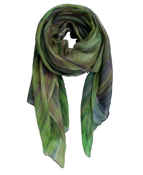 Watercolor Design Silk Scarf in Green and Blue Tones, Vietnam