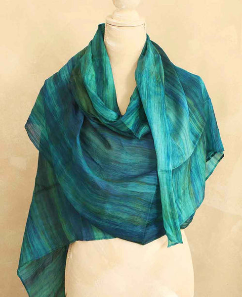 Watercolor Design Silk Scarf in Teal and Sea Green, Vietnam