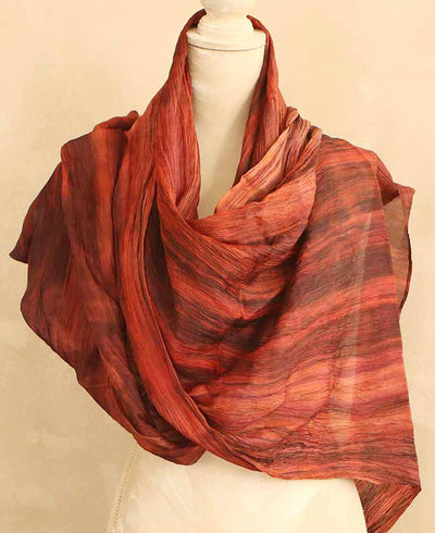 Pure Silk Dyed Scarf in Red Berry Watercolor Tones, Vietnam
