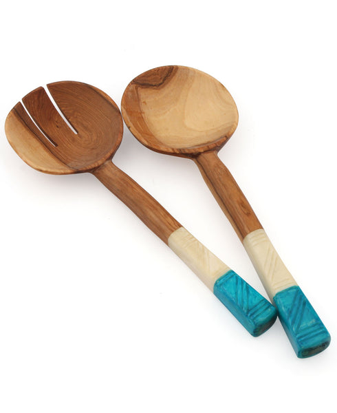 African Colorblock Salad Servers, Kenya