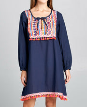 Navy Fringe Dress