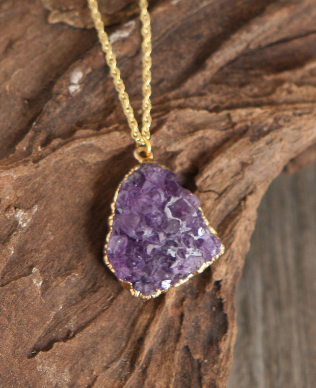 Cut Amethyst Crystal Pendant Necklace, USA